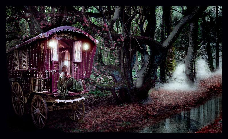 gypsy-caravan-forest-night